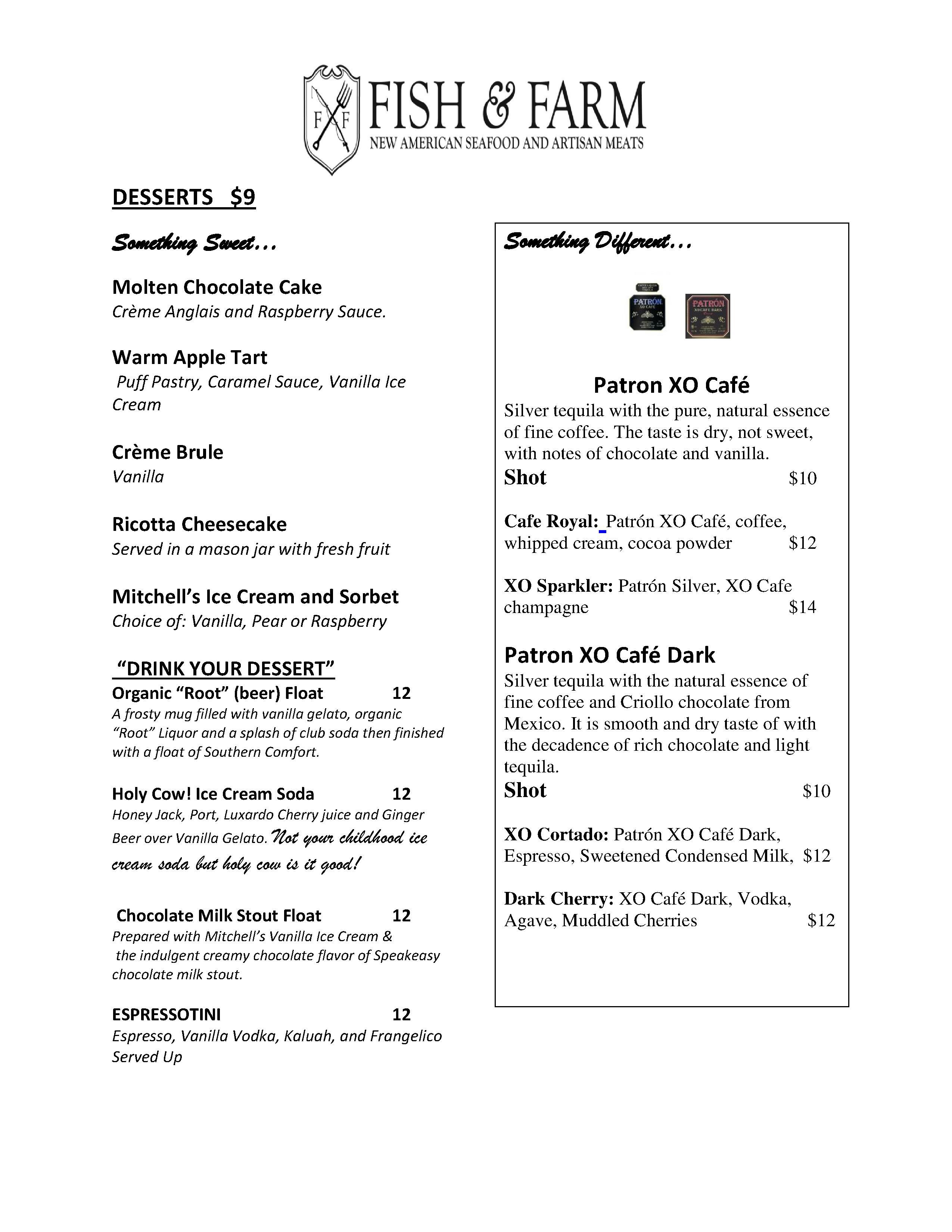 Dessert menu at fish farm a san francisco restaurant for Fish and farm sf